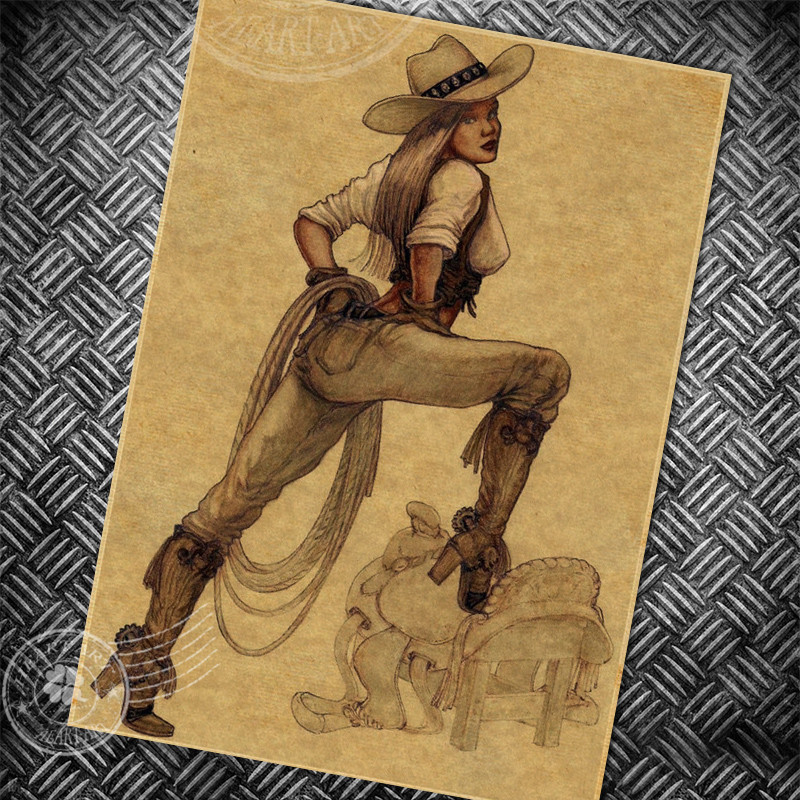 Vintage poster retro painting USA Sexy Girl COWBOY old ...