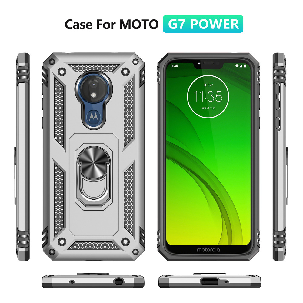 Image 3 - For Motorola Moto G7 Plus Case g7 power Hybrid Silicone PC Rugged Armor cover for moto g7 play Magnetic Ring Holder Phone coque-in Fitted Cases from Cellphones & Telecommunications