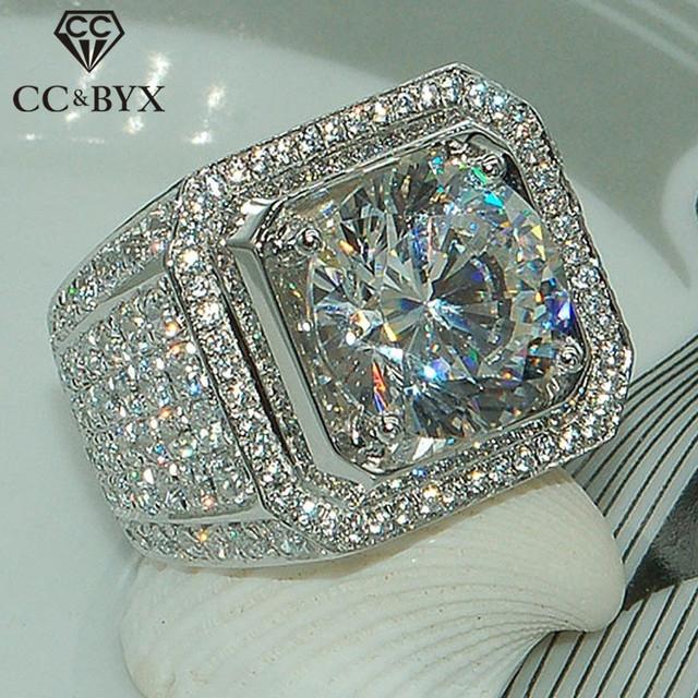 CC Men Ring Cubic Zirconia Luxury Jewelry Bridegroom Wedding Trendy Jewelry Engagement Party Gift Domineering Ringen CC804
