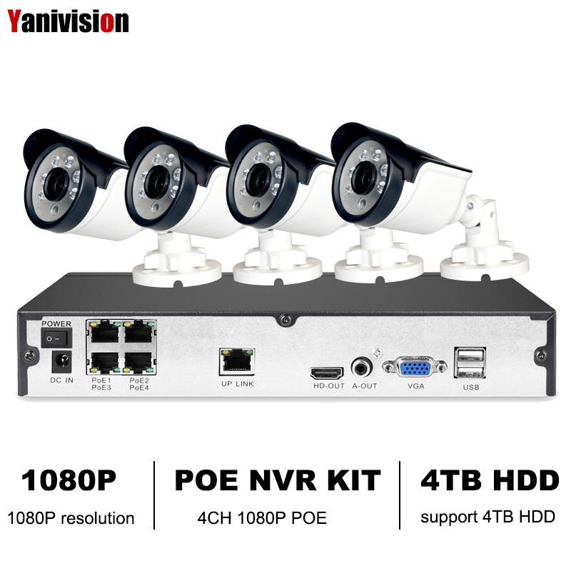 Yanivision 4CH CCTV System 1080P PoE NVR Outdoor 2.0MP IP Camera System Onvif Cloud 1080P NVR KIT Motion Detect Night VisionYanivision 4CH CCTV System 1080P PoE NVR Outdoor 2.0MP IP Camera System Onvif Cloud 1080P NVR KIT Motion Detect Night Vision