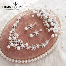 Newest Korea Style Handmade Wedding Jewelry Crystal Rhinestone Imitate Pearl Flower Necklace Earring Headpiece Set