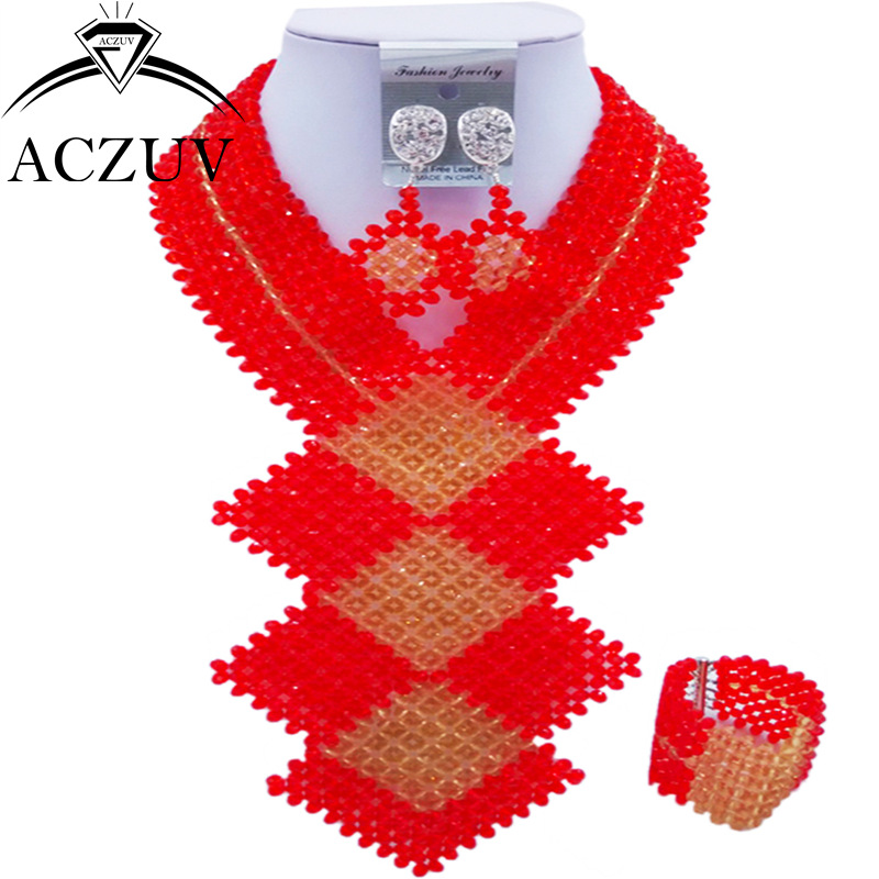 ACZUV Fashion African Beads Jewelry Set Red and Gold Nigerian Wedding Necklace and Earrings for Women CFKB005 chic rhinestone african plate shape pendant necklace and earrings for women