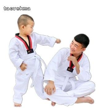 3f53d4260b Taekwondo uniforme blanco niños adultos traje de Taekwondo Dobok WTF Karate  uniforme ropa manga larga Fitness Training T22