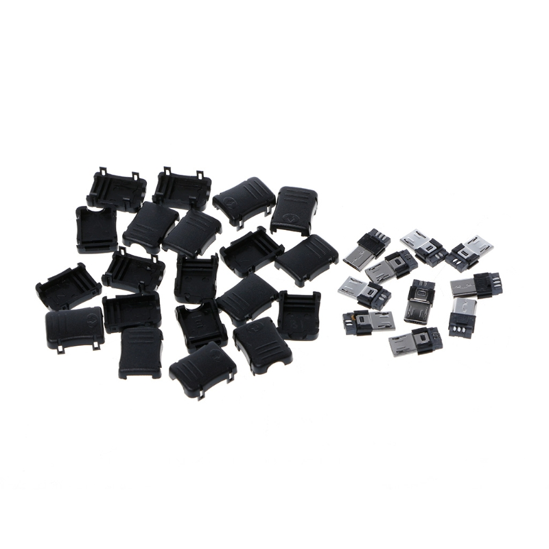 10 pcs Micro USB T Male Port Male 5 Pin Plug Socket Connector Plastic Covers For DIY 2 set rs232 serial port connector db9 male socket plug connector 9 pin copper rs232 com adapter with plastic case diy hy225 2