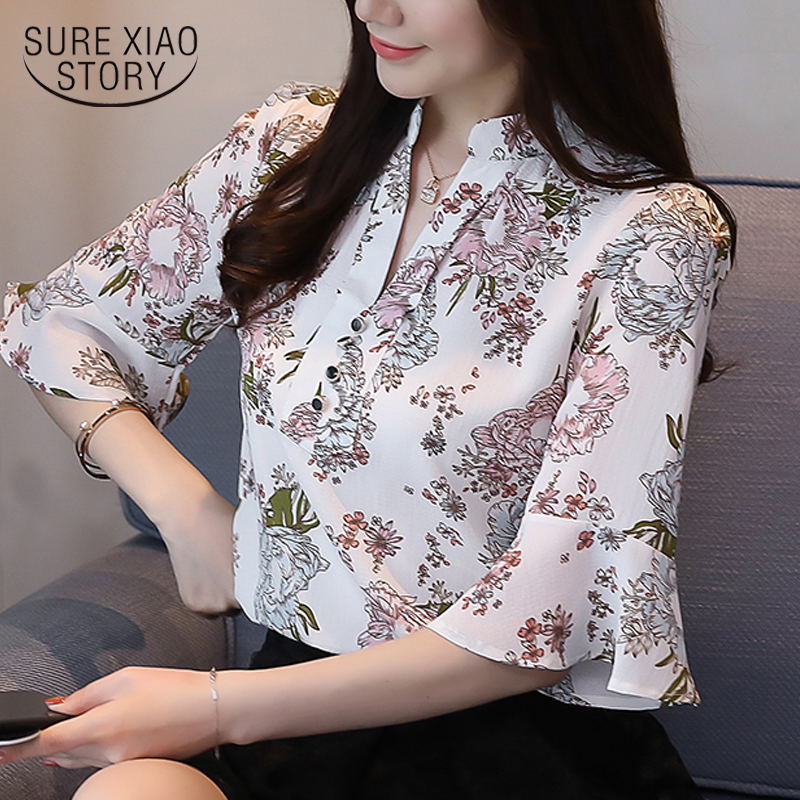 fashion women   blouses   2019 plus size print chiffon   blouse     shirt   v collar office   blouse   short sleeve summer women   shirts   2889 50