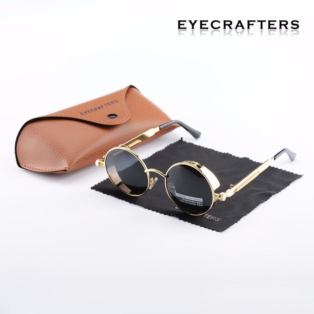 Gold Black Metal Polarized Sunglasses Gothic Steampunk Sunglasses Mens Womens Fashion Retro Vintage Shield Eyewear Shades