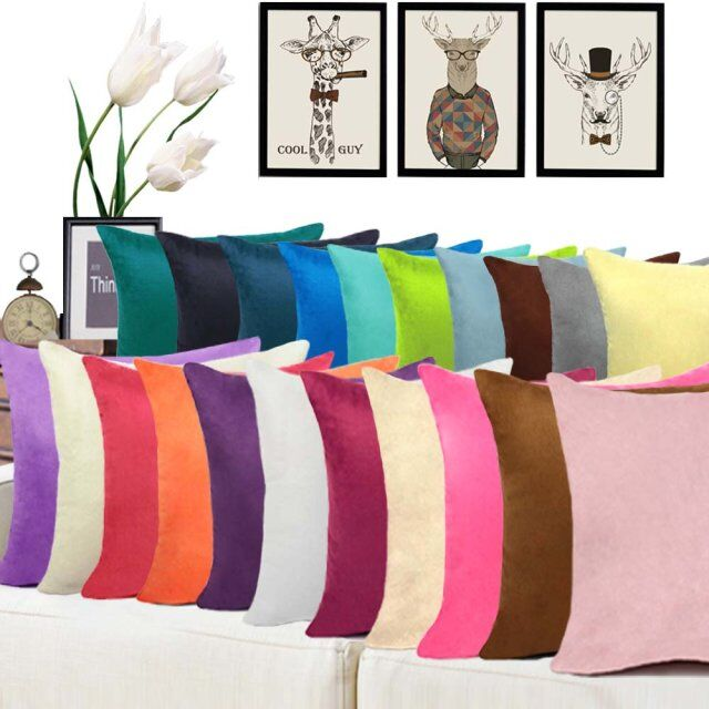 Hot Sale Fashion Pillowcase Anpassad Suede Pure Color Throw Kudde Inredning För Sofa Car CushionCover Partihandel 40/45/50/60 / 70cm