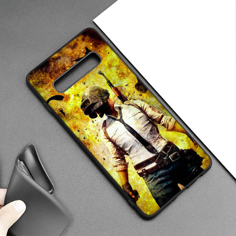 PUBG juego Arte Negro funda de silicona para Samsung Galaxy M20 S10e S10 S9 M10 S8 Plus 5G S7 S6 borde cubierta Coque
