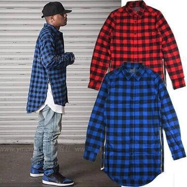 Buy red blue scottish plaid long sleeve for Mens long sleeve flannel shirts