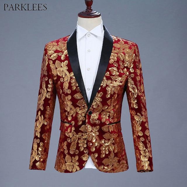 Mens Shiny Red Sequin Blazer Jacket 2018 Brand New Shawl Collar Single Button Velvet Suit Blazer Men Nightclub Stage Costumes