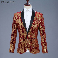 Mens Shiny Red Sequin Blazer Jacket 2018 Brand New Shawl Collar Single Button Velvet Suit Blazer Men Nightclub Stage Costumes
