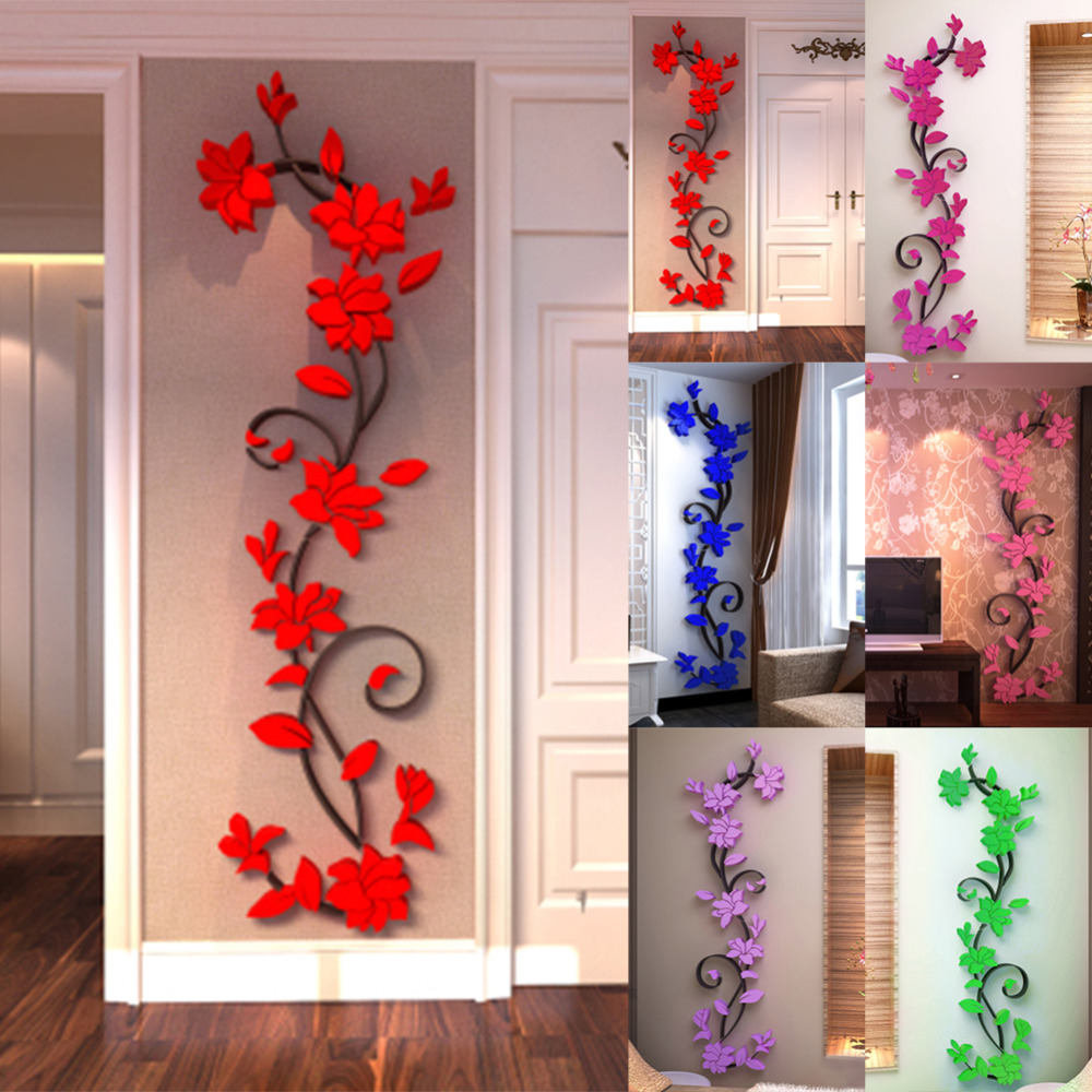 3d wall sticker fashion rose flower entranceway tv for Zimmer deko ebay