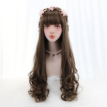 30''Long Wavy Lolita Wig With Bangs Brown Synthetic Clip in Human Hair Extensions Costume Wigs For Women High Temperature Fiber(China)