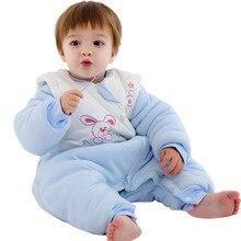Детская зимняя одежда для сна, спальный мешок с кроликом, одеяло для новорожденных, теплые хлопковые халаты для маленьких мальчиков и девочек 3-36 месяцев