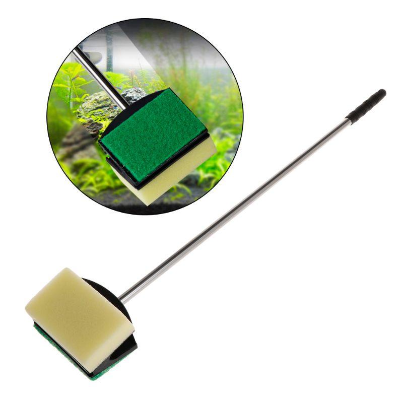Cleaning Brush Double Face Sponge Fish Tank Aquarium Glass Algae Remover Scraper Long Steel Handle Cleaner
