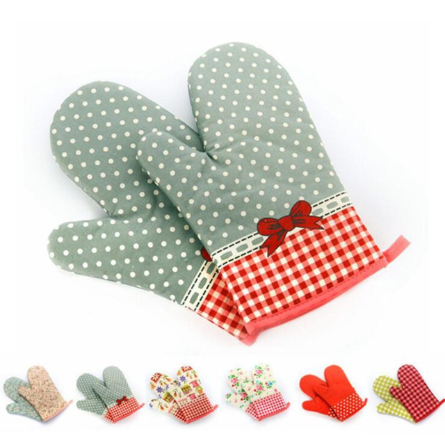 1pc Kitchen Cooking Tc Knitted Oven Mitt Non Slip Thickening Mom