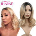 Black to blonde Short Ombre Synthetic Wigs For Black Women Ombre Wave bob Heat Resistant Freetress Hair Synthetic Wigs Sale