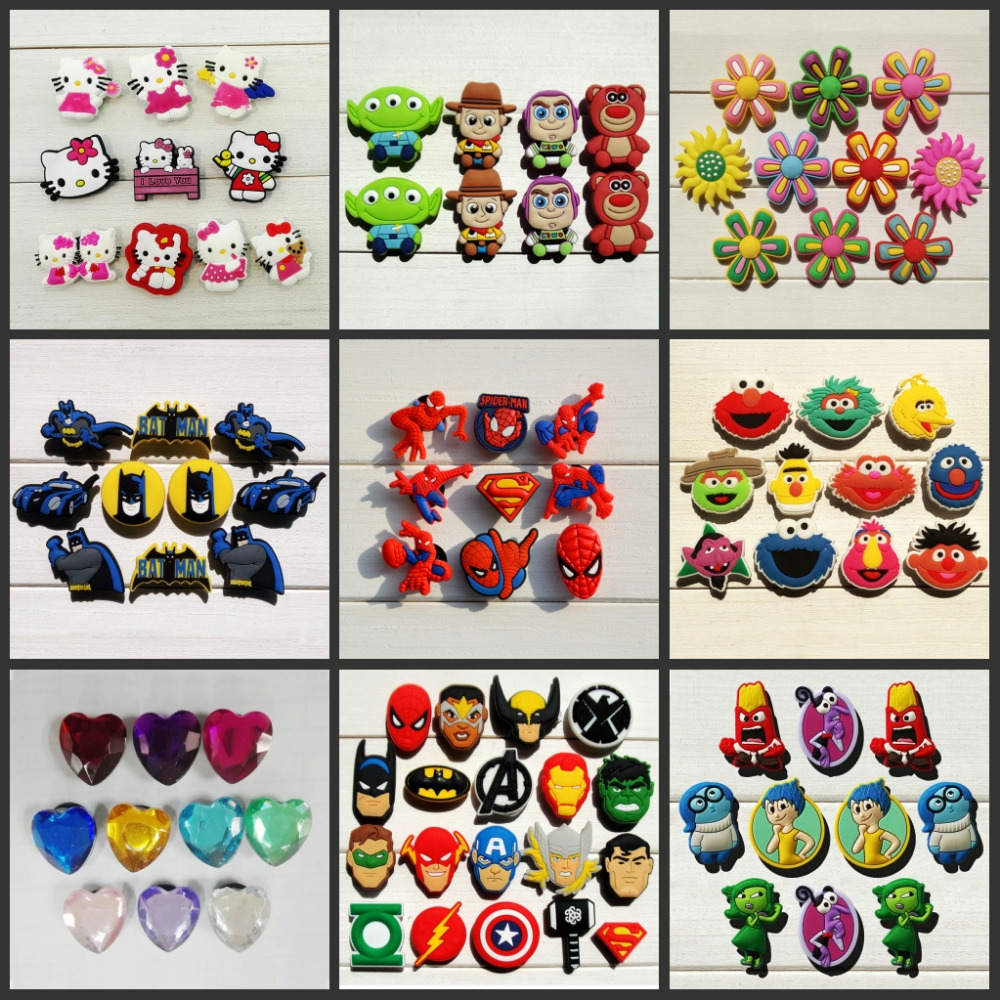 Hot cartoon 8-14pcs Super heros South Park Avengers Mickey Crystal shoes buckle accessories shoe charms fit party gift