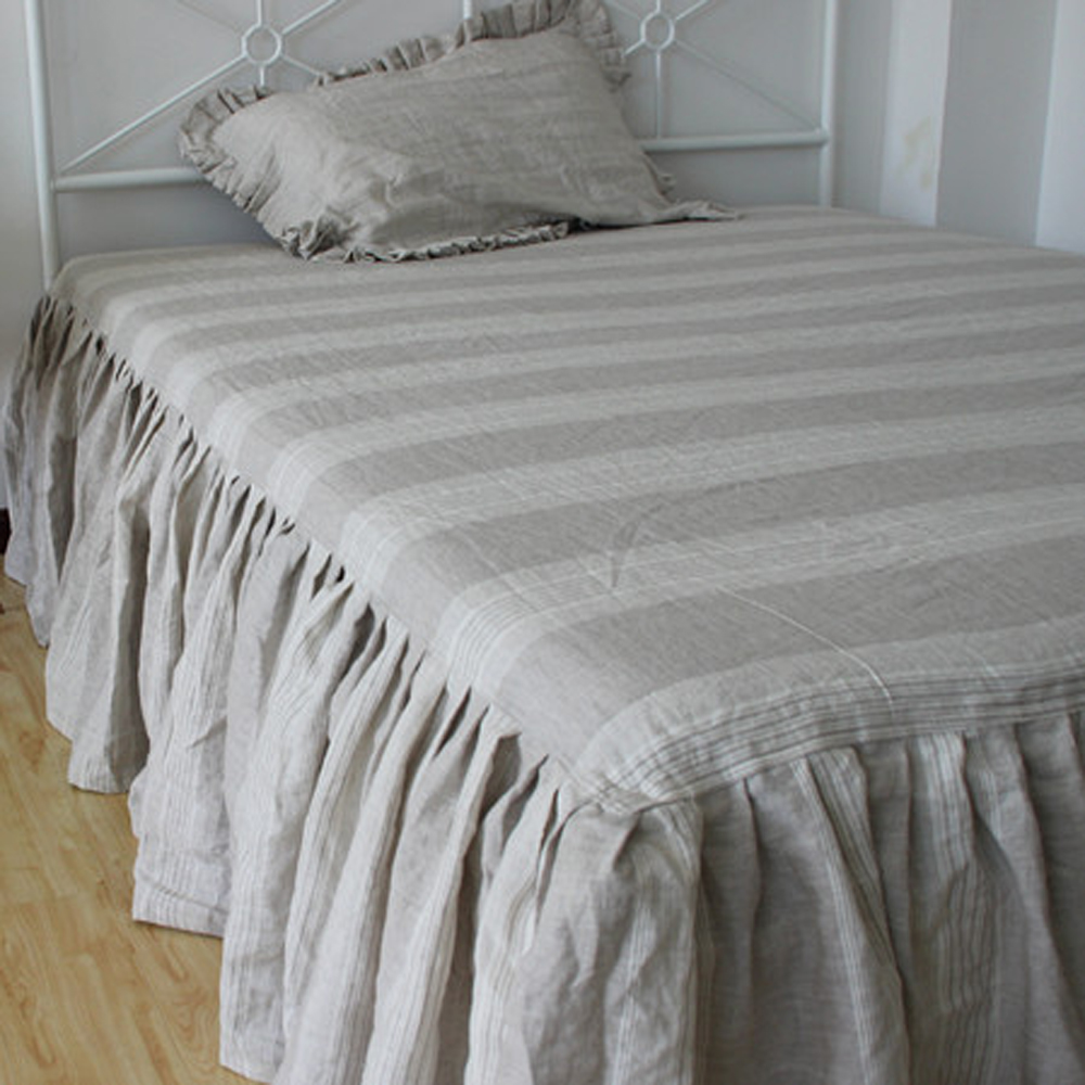 Grey White Real Washed Striped French Linen Bed Skirt Dust