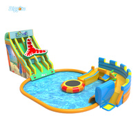 Giant Inflatable Water Park Inflatable Outdoor Water Slide With Pool And Trampoline For Kids And Adult