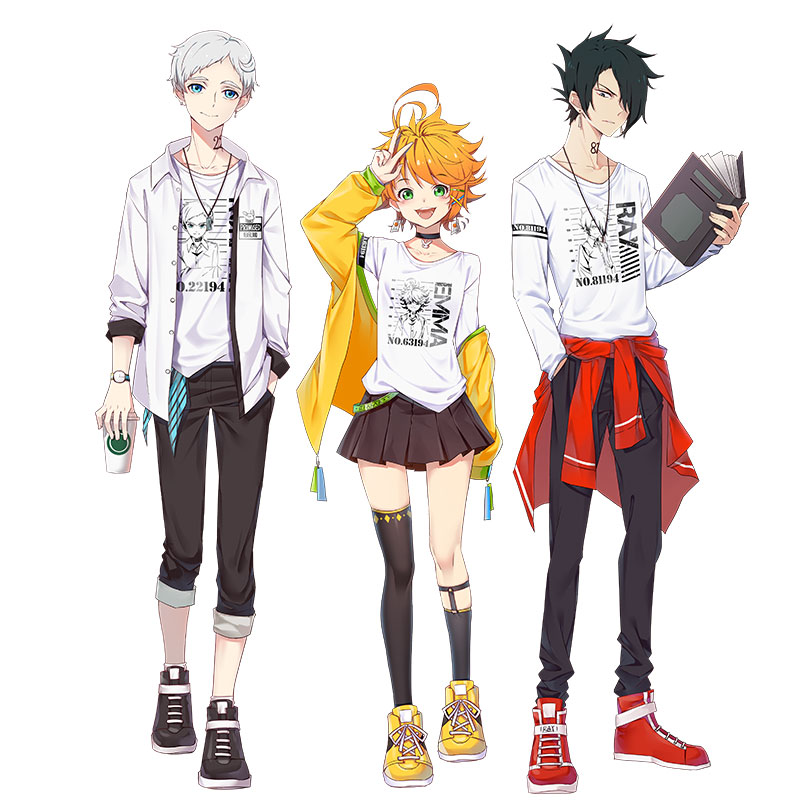 US $18 99 5% OFF|Anime The Promised Neverland Phil Gilda Don Ray Norman  Emma Cosplay Costume Printed T shirt Long Sleevel Shirt-in Anime Costumes  from