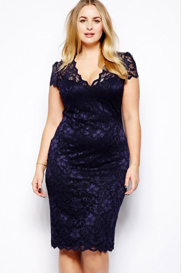 Dresses For Chubby Girls New Lace Vestido Plus Size Xxxl V Neck Short Sleeve Summer Sexy Package Hip Slim Blue Lace Xxl Dress062 In Dresses From Womens