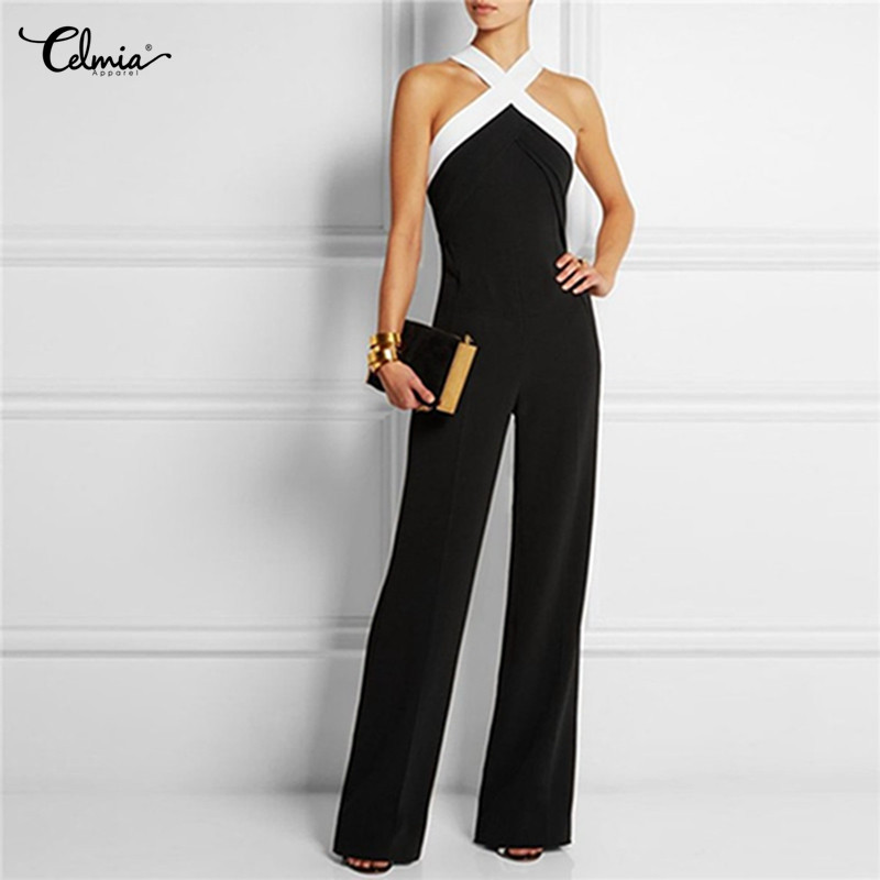 Celmia Sexy Halter Neck Off Shoulder Jumpsuits 2018 Summer Women Rompers Sleeveless Party Club Casual Long Playsuits Plus Size