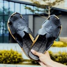 GLAZOV 2019 Новая модная летняя обувь для мужчин's шлёпанцы для женщин Натуральная кожаные пляжные сандалии мужчин повседневная обувь сланцы большой размер 38 ~ 46