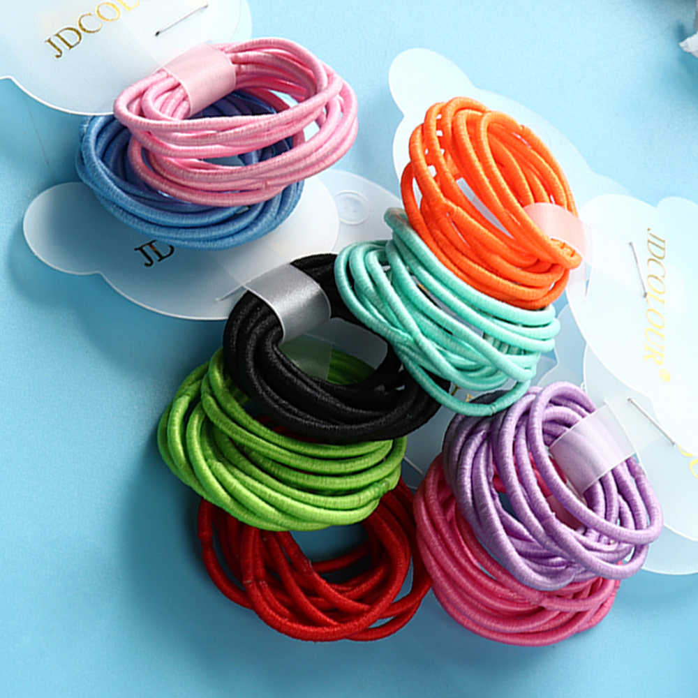 22Colors 10Pcs/Card 3cm Child Rubber Bands Hair Accessories Wholesale New Fashion Candy Colors Hair Elastics For Girls Kids