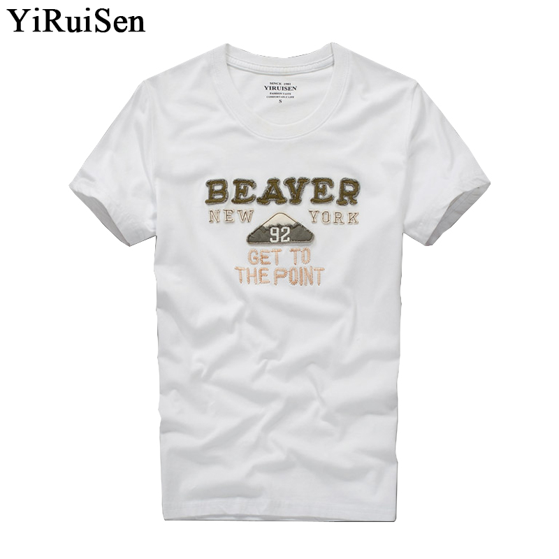 YiRuiSen brand clothing mens   t     shirt   fashion 2017 o-neck casual letter patch   t  -  shirt   men summer casual top tees