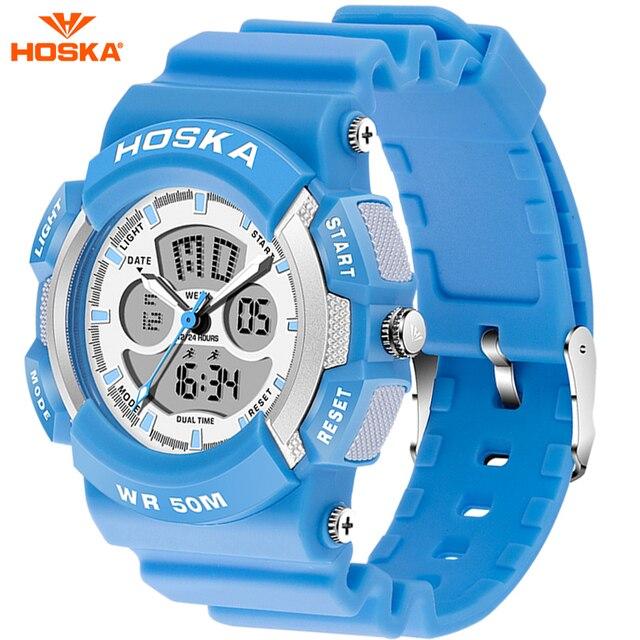 HOSKA Мужские Военные Часы Дети Спорт Популярный Бренд HOSKA Аналоговые Кварцевые Открытый Водонепроницаемый LED Цифровые Часы Для Детей