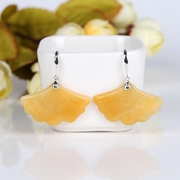 Yellow Jade Carved Ginkgo Leaf Ear Stud Crystal Earrings 2018 Women's 925 Sterling Silver Fashion Drop For Spring 34x22x4mm 9.5g