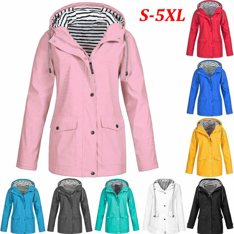 2019 Spring Autumn Hiking Jackets Women Ladies Rain Jacker Outdoor Rain Coat Zippered Windbreaker Waterproof Coat Outwear S-5XL