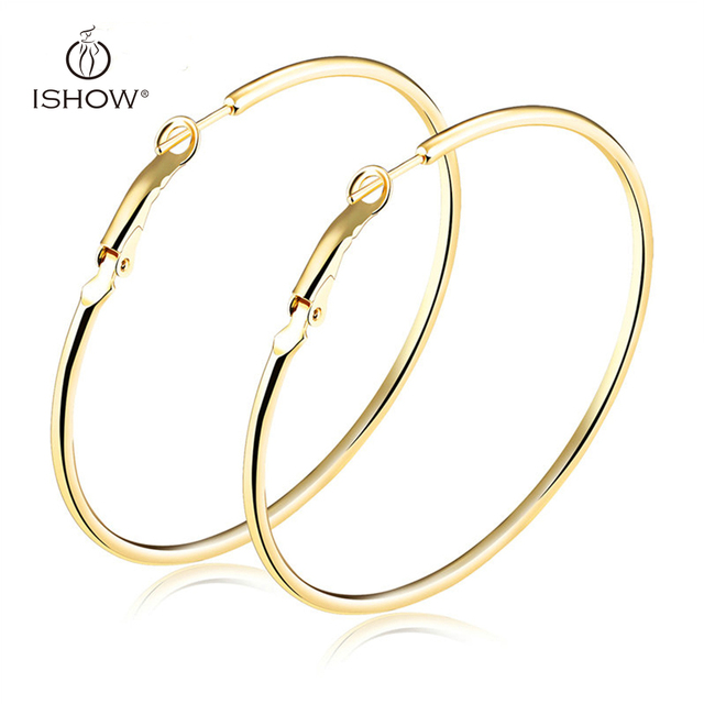 Woman Plated Silver Gold Hoop Earrings Circle 20 70 Mm Lightweight Simple Hoops