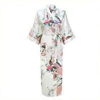 Branco Sexy Flor de Banho Vestido de Yukata Kimono Robes de Seda Das Mulheres Lingerie Longo Com Decote Em V Sleepwear Sauna Traje Plus Size S-XXXL NR069