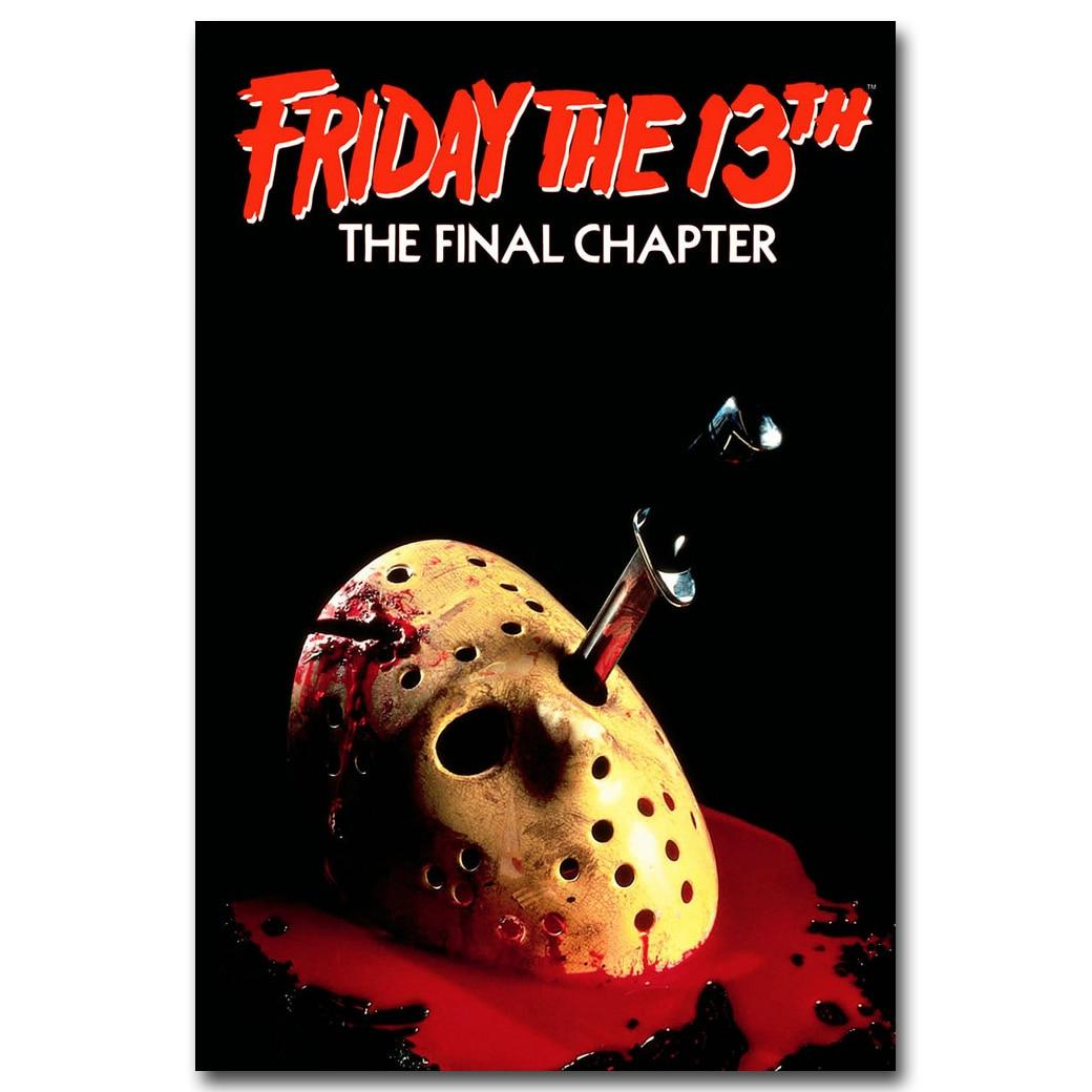 Пятница 13th Книги по искусству Шелковый плакат печать 13x20 24x36 дюймов Джейсон Вурхиз классический фильм ужасов фото для стены комнаты декор 005