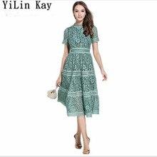 5c38adf501 YiLin Kay zielony różowy koronki szwy drążą letnia sukienka 2019 fashion  Runway elegancka koronkowa sukienka