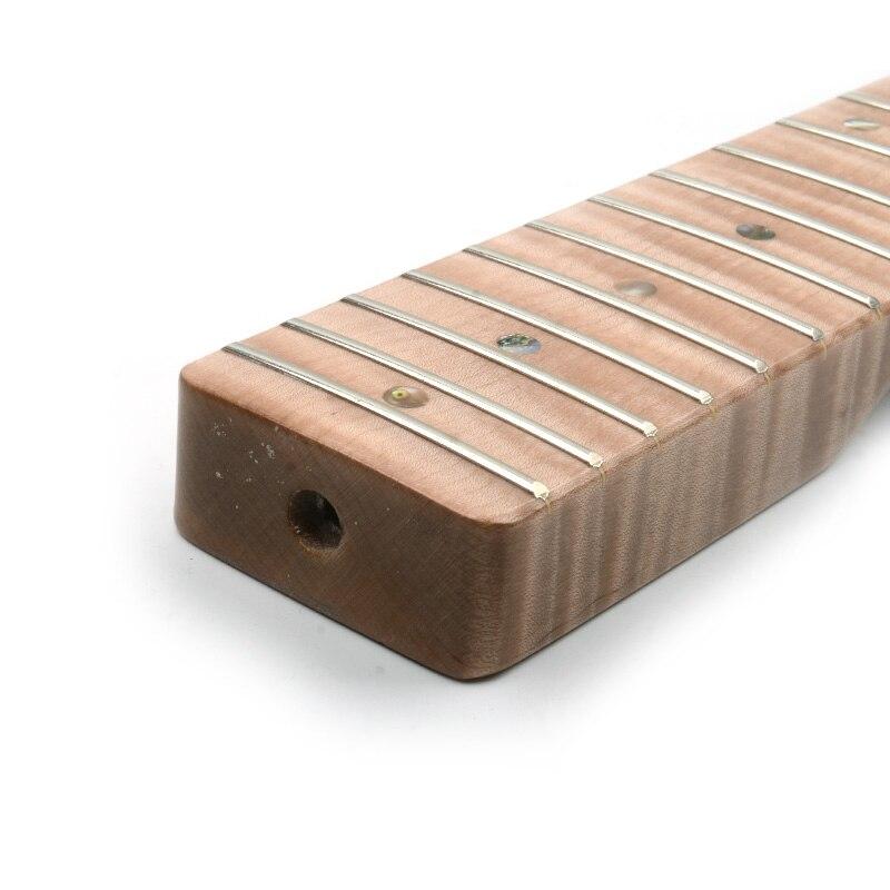 21 érable de flamme de tigre de cou de Fret avec des points d'ormeau brillant naturel pour le remplacement de cou de guitare électrique de TL - 6