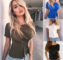 2019 Summer New Fashion Lace Up T Shirt Women Sexy O Neck Fiting Short  Sleeve Tee Shirt Top Bandage T-shirt