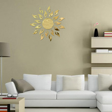 1PC luxury 3D sunflower home decor bell cool mirrors wall stickers high quality on hot selling new designed new arrival decor