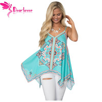DearLover Spaghetti Strap Vest Femme Vintage Sexy Hot Bluish Tribal Print Summer Holiday Tank Top Loose