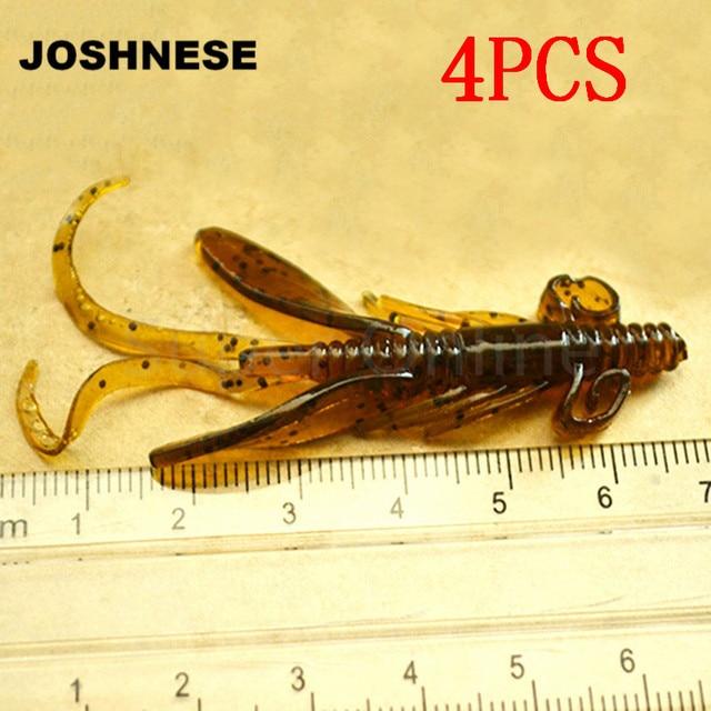 JOSHNESE 4 יח'\אריזה רך פיתיון סיליקון פתיונות תולעת דיג פתיונות דגי אטרקטיבי שרימפס Wobbler לנענע מסתובב בס קרס דיג
