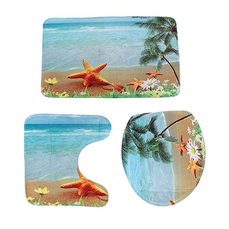 Aliexpress Com 3pcs Non Slip Bath Mat Bathroom Rug Set Contour Lid Toilet Cover Sea Beach Design From Reliable Mats Suppliers On Ounona