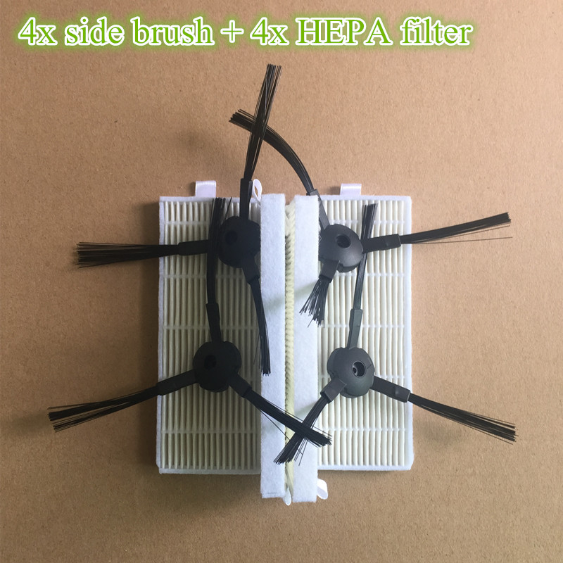 4x Robot Side Brush + 4x A6 HEPA Filter Replacement Kits for ilife A6 A4s Robotisc Vacuum Cleaner Parts