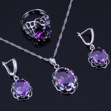 Gracious Oval Egg Purple Cubic Zirconia 925 Sterling Silver Jewelry Sets For Women Earrings Pendant Chain Ring V0274