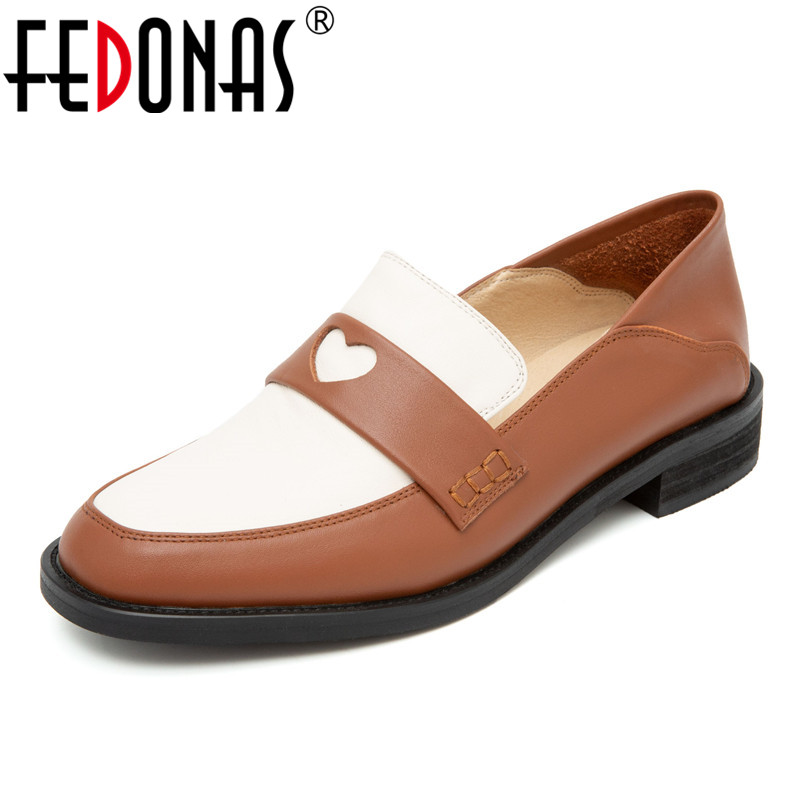 FEDONAS Spring Autumn Sweet Women Round Toe Square Heels Slip-on Pumps Genuine Leather Brand Shoes Classic Party Shoes Woman