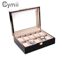 Cymii 10 Grids Watch Display Box Red Wooden Watch Box Transparent Skylight Watch Storage Box With Lock Watch Case Box