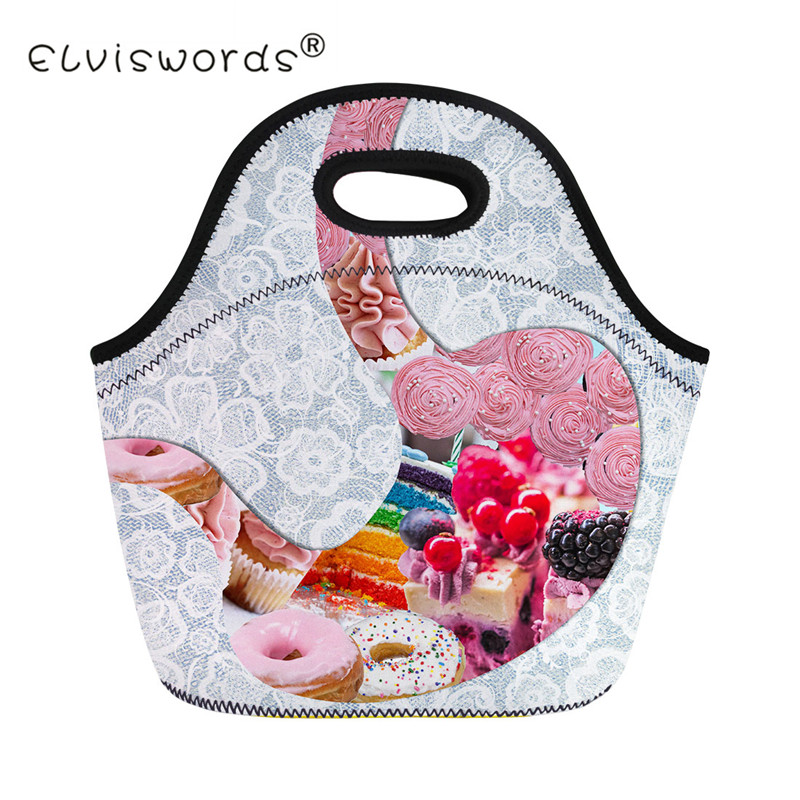 ELVISWORDS Insulated Portable Women Lunch Bag Creative Cake Print Kids Thermal Food Picnic Lunch Bags Girls Cooler Lunch Box