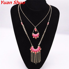 2016 Europe and the United States new fashion pendant blue red candy color ladies tassel multi-layer geometric triangle necklace