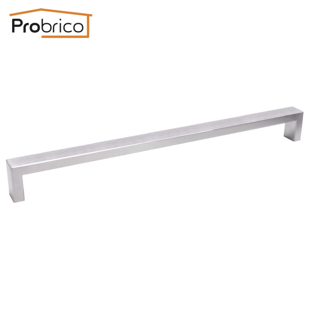 Probrico Cabinet Door Handle Square Bar Size 10mm*20mm Stainless Steel Hole Space 320mm Furniture Drawer Pull Knob PDDJ30HSS320 probrico grey stainless steel kitchen cabinet handle diameter 12mm hole to hole 224mm furniture drawer knob pull pd201hgy224